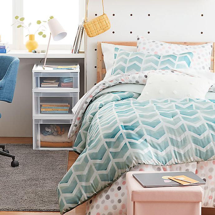 Alternate image 1 for Simply Essential™ Watercolor Chevron 3-Piece King Duvet Cover Set in Blue