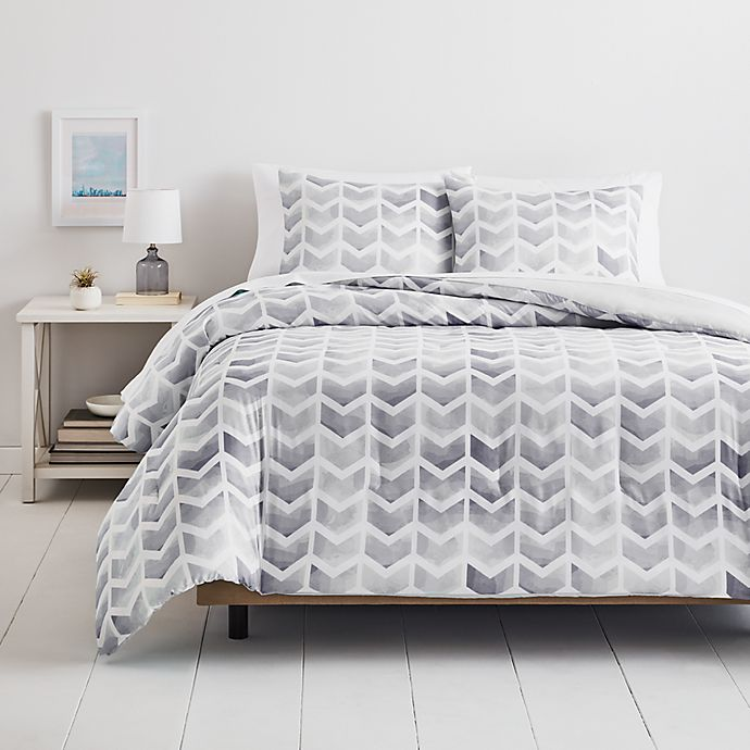 Alternate image 1 for Simply Essential™ Watercolor Chevron 2-Piece Twin/Twin XL Comforter Set in Grey