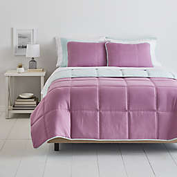 Simply Essential™ Box Stitch 6-Piece Twin/Twin XL Comforter Set in Purple