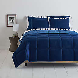 Simply Essential™ Boxstitch 9-Piece Full/Full XL Comforter Set in Navy
