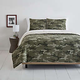 Simply Essential™ Camo Sherpa 3-Piece Reversible Full/Queen Comforter Set in Green