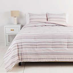Simply Essential™ Broken Stripe 3-Piece King Duvet Cover Set in Pink/Grey