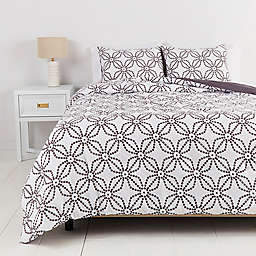 Simply Essential™ Dotted Medallion 2-Piece Twin/Twin XL Duvet Cover Set in White/Grey