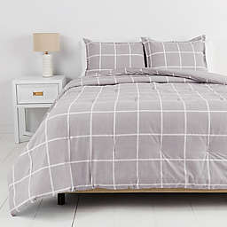 Simply Essential™ Windowpane Percale 3-Piece King Comforter Set in Chambray Grey