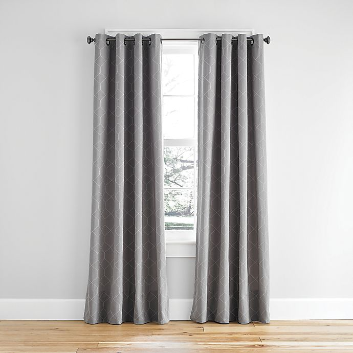 Alternate image 1 for Simply Essential™ Woven Honeycomb Grommet Light Filtering Window Curtain Panel (Single)