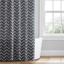 Simply Essential™ 72-Inch x 96-Inch Dotted Chevron Shower Curtain in Grey