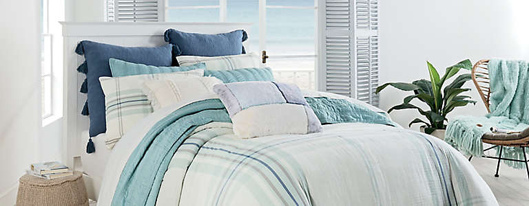 KING SIZE DUVET COMPLETE SET MULTI SQUARE CHECK BLUE GREEN YELLOW RED BEDDING