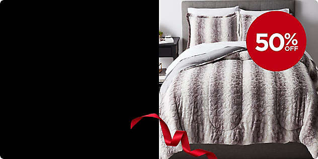 50% OFF 3-Piece Faux-Fur Comforter Set