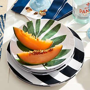 Choose dinnerware that's light, break resistant, and colorful.