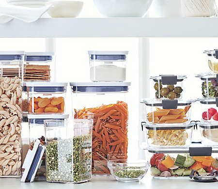 Keep ingredients organized and fresh with clear, air-tight containers.