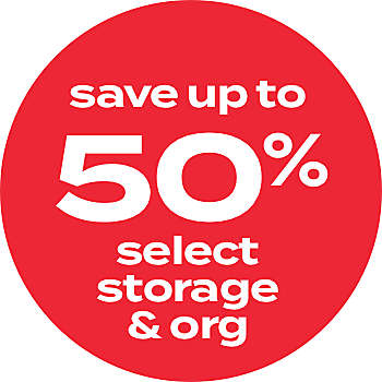 up to 50% off storage & org