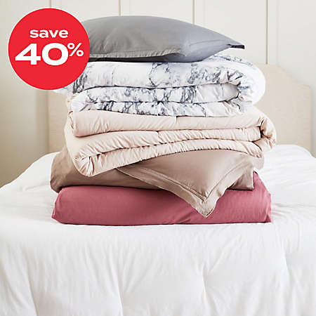 save 40% on garment-washed comforters & duvet covers