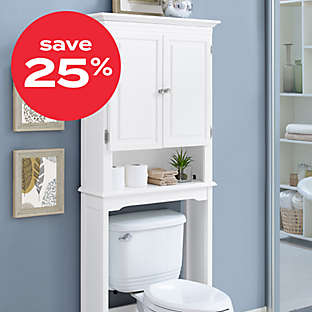 save 25% on select bath furniture
