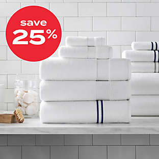 save 25% on select bath towels & rugs