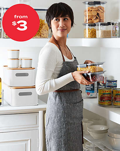 Tackle the pantry (once and for all!) with bins and canisters starting at $3.