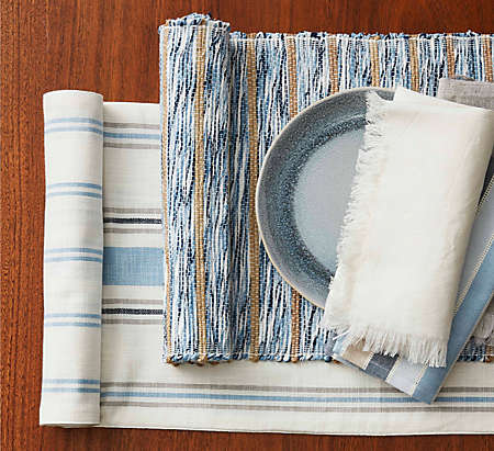 Swap in table linens with vibrant colors and rich textures.