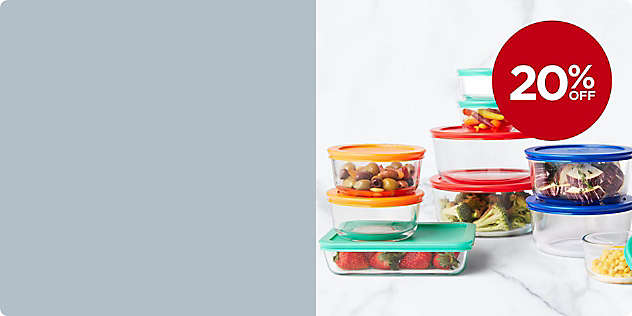 20% OFF Select Pyrex® Glass Food Storage thru 2/23