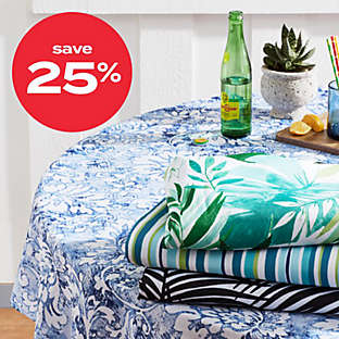 25% off outdoor table linens