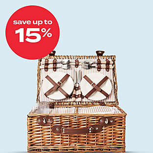 up to 15% off select picnic baskets