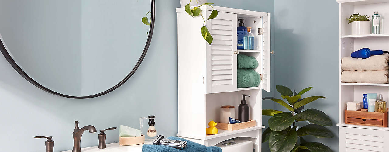 save up to 25% on bathroom storage