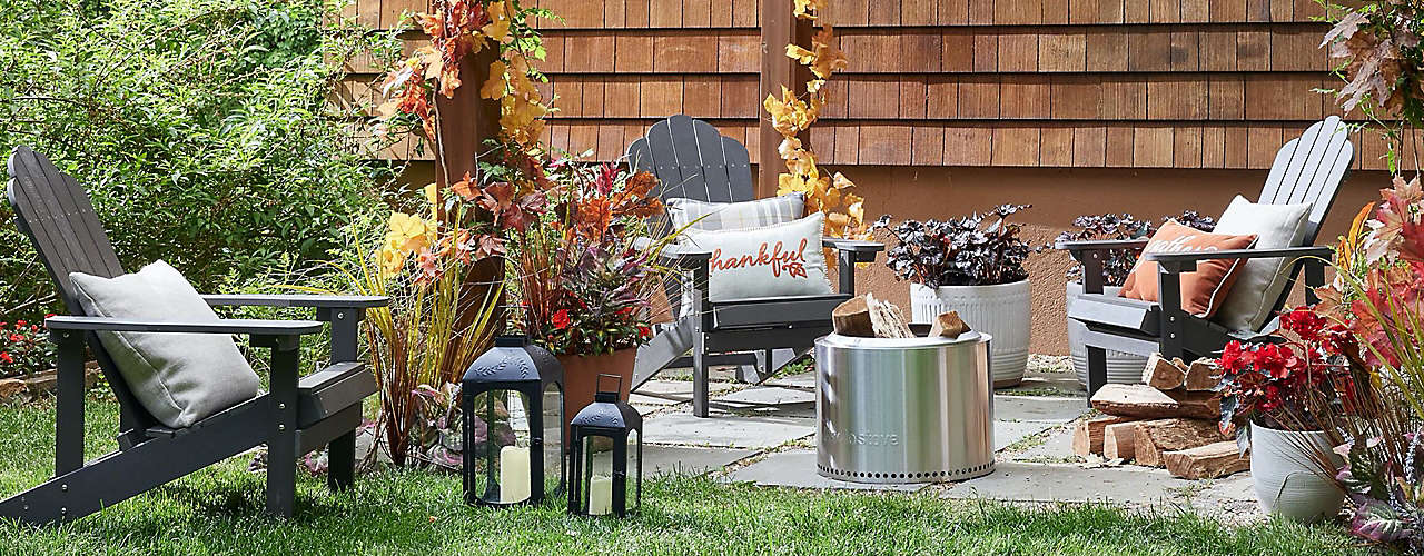 Fire pits, seating, and more for alfresco gatherings.