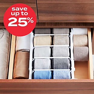 Up to 25% off select closet storage