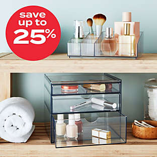 Up to 25% off select bath organization