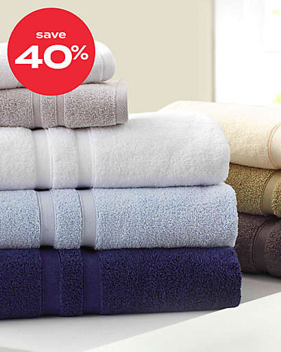 up to 40% off bath towels & rugs