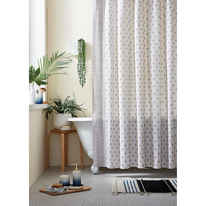 Alternate image 1 for Wild Sage™ Keilana Embroidered Shower Curtain in Grey