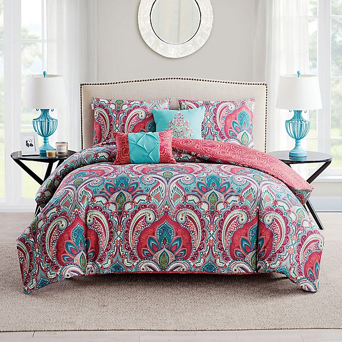Alternate image 1 for VCNY Casa Re'al Duvet Cover Set in Pink/Turquoise