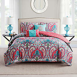 VCNY Casa Re'al 5-Piece King Duvet Cover Set in Pink/Turquoise