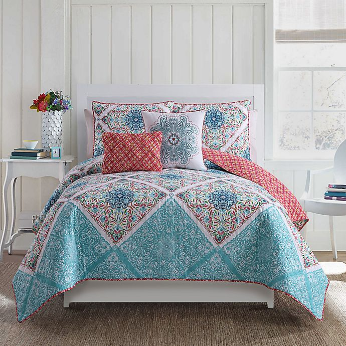 Alternate image 1 for VCNY Windsor Reversible King Quilt Set in Blue/Coral