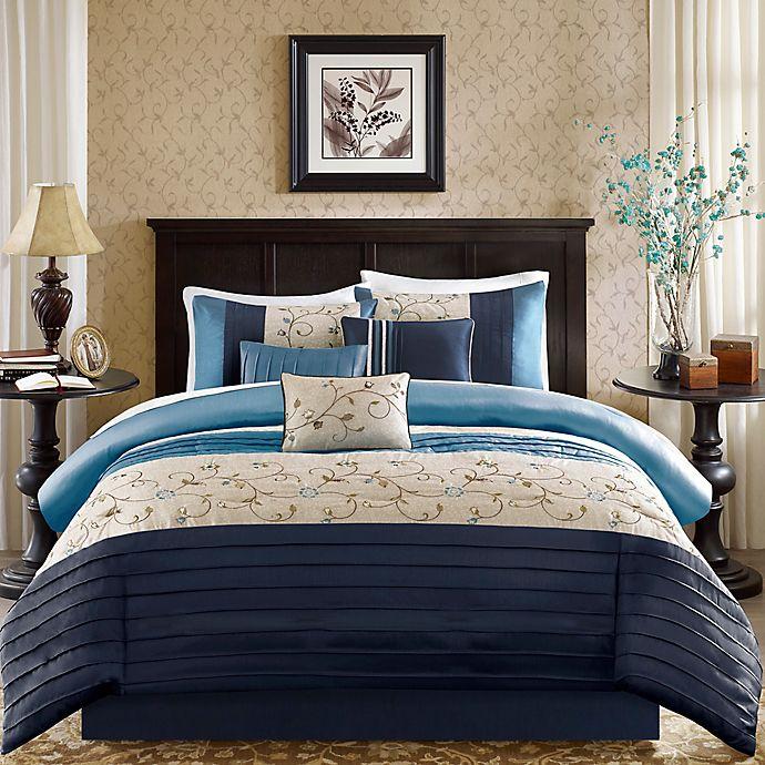 Alternate image 1 for Madison Park Serene 7-Piece California King Comforter Set Navy