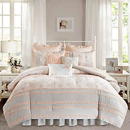 Madison Park Serendipity 9-Piece Cotton Percale Full Comforter Set in Coral