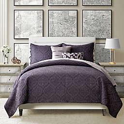 Sunham Home Fashions Camber Reversible Full/Queen Quilt Set in Aubergine