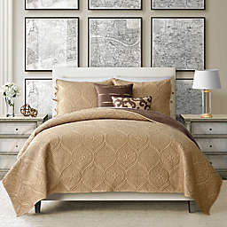 Camber 4-Piece Reversible Twin Quilt Set in Straw