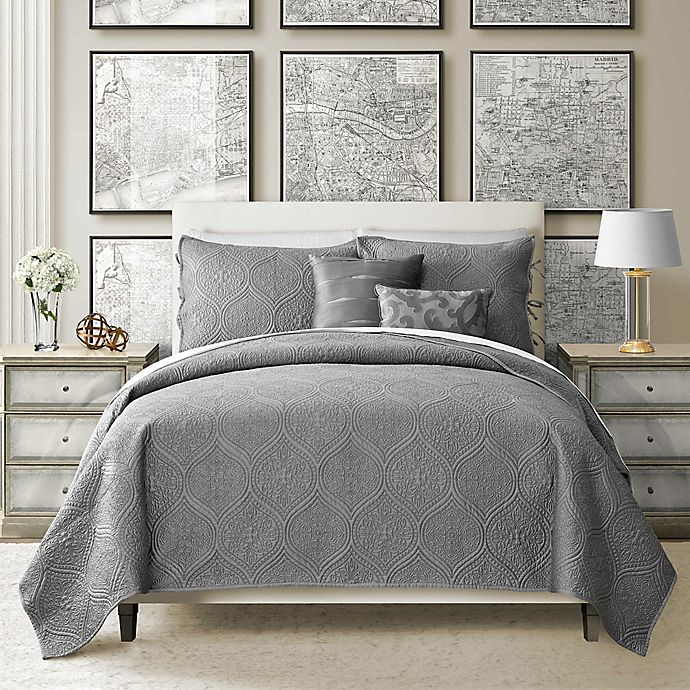 Alternate image 1 for Camber 4-Piece Reversible Twin Quilt Set in Grey