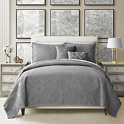 Camber 4-Piece Reversible Twin Quilt Set in Grey