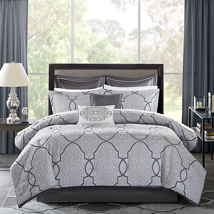 Alternate image 1 for Madison Park Lavine 12-Piece Comforter Set in Silver