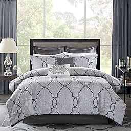 Madison Park Lavine 12-Piece King Comforter Set in Silver