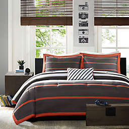 Mi Zone Ashton Stripe Printed Full/Queen Comforter Bedding Set in Orange