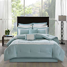 Madison Park Stratford 8-Piece King Comforter Bedding Set with Bedskirt in Aqua