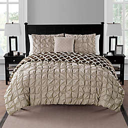 VCNY Home Scottsdale 2-Piece Reversible Twin XL Duvet Cover Set in Taupe