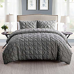 VCNY Home Scottsdale 2-Piece Reversible Twin XL Duvet Cover Set in Charcoal