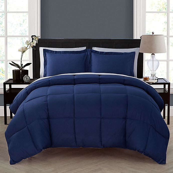 Alternate image 1 for VCNY Home Lincoln 5-Piece Twin XL Down Alternative Comforter Set in Navy