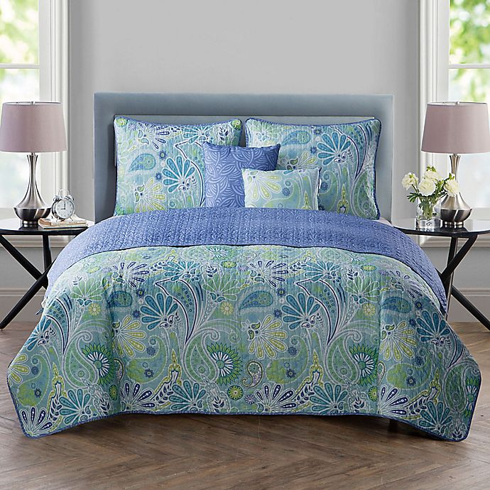 Alternate image 1 for VCNY Home Harmony Reversible Full/Queen Quilt Set in Blue