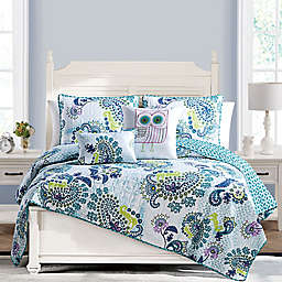 VCNY Home Samantha Reversible Twin Quilt Set in Blue