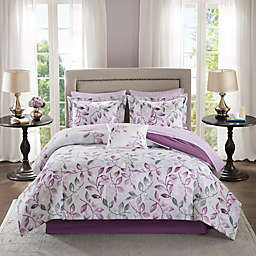 Madison Park Essentials Lafael 9-Piece King Comforter Set in Purple
