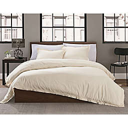 Keeco Garment Washed Solid 2-Piece Twin/Twin XL Duvet Cover Set in Cream