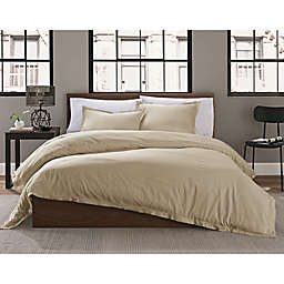 Keeco Garment Washed Solid 2-Piece Twin/Twin XL Duvet Cover Set in Khaki